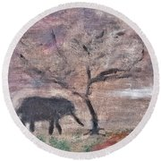 African Landscape Baby Elephant And Banya Tree At Watering Hole With Mountain And Sunset Grasses Shr Round Beach Towel by MendyZ