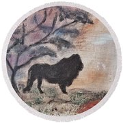 African Landscape Lion And Banya Tree At Watering Hole With Mountain And Sunset Grasses Shrubs Safar Round Beach Towel