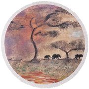 African Landscape Three Elephants And Banya Tree At Watering Hole With Mountain And Sunset Grasses S Round Beach Towel