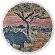African Landscape With Elephant And Banya Tree At Watering Hole With Mountain And Sunset Grasses Shr Round Beach Towel by MendyZ
