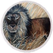 African Lion 2 Round Beach Towel