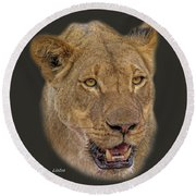 African Lioness Tee Round Beach Towel