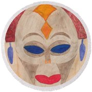 African Mask Round Beach Towel
