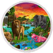 African Paradise Round Beach Towel by Gerald Newton