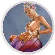 African Queen Round Beach Towel by Bryan Bustard