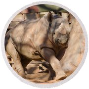 Round Beach Towel featuring the photograph African Rhino by Donna Brown