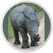 African Rhino Round Beach Towel