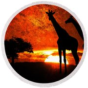 African Safari Round Beach Towel