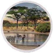 African Safari Wildlife At The Waterhole Round Beach Towel