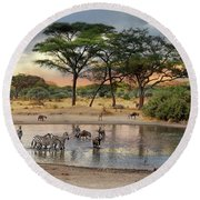 African Safari Wildlife At The Waterhole Round Beach Towel