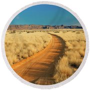 African Sand Road Round Beach Towel