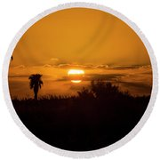 African Style Sunset Round Beach Towel