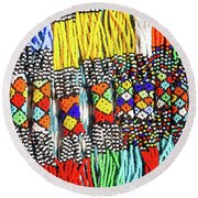 African Tribal Necklaces Round Beach Towel