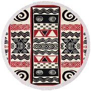 African Tribal Ritual Design Round Beach Towel by Vagabond Folk Art - Virginia Vivier