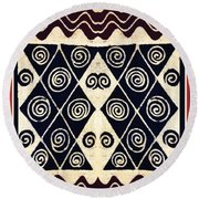 African Tribal Textile Design Round Beach Towel by Vagabond Folk Art - Virginia Vivier