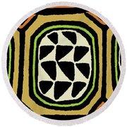 Round Beach Towel featuring the digital art African Tribal Textile by Vagabond Folk Art - Virginia Vivier