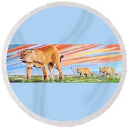 African Lion And Cubs Round Beach Towel by Phyllis Kaltenbach