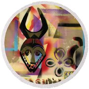 Afro - Aesthetic - F Round Beach Towel by Everett Spruill