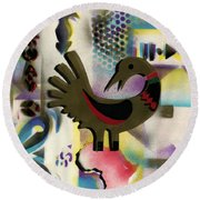 Afro - Aesthetic - K  - Sankofa Bird  And Adinkra Symbol For Abundance Round Beach Towel by Everett Spruill