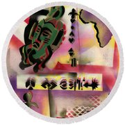Afro - Aesthetic - M Round Beach Towel by Everett Spruill