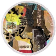 Afro Collage - K Round Beach Towel