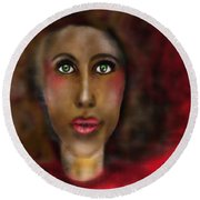 Afro Lady Round Beach Towel
