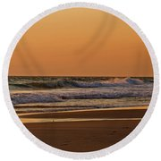 After A Sunset Round Beach Towel by Sandy Keeton