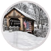 Round Beach Towel featuring the photograph After A Winter Snow Storm Cilleyville Covered Bridge  by Betty Pauwels