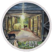 After Hours In Pa's Barn - Barn Lights - Labs Round Beach Towel by Jan Dappen