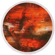 After Midnight - Black Orange And White Contemporary Abstract Art Round Beach Towel