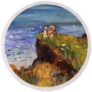 After Monet Somewhere On The Cliffs Of Normandie Round Beach Towel