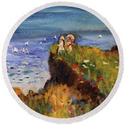 After Monet Somewhere On The Cliffs Of Normandie Round Beach Towel