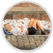 Round Beach Towel featuring the pyrography after party Stocholm by Yury Bashkin