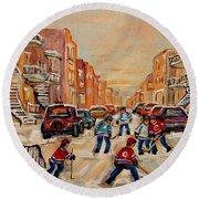 Round Beach Towel featuring the painting After School Hockey Game by Carole Spandau