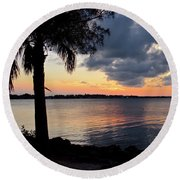 After Sundown At Wabasso Bridge  Round Beach Towel