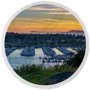 After Sunset At The Marina Round Beach Towel