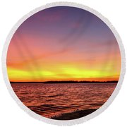 After Sunset Round Beach Towel by Doug Long