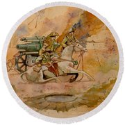 Round Beach Towel featuring the painting After The Charge by Ray Agius