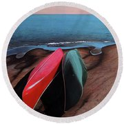 Round Beach Towel featuring the painting After The Crossing by Kenneth M Kirsch