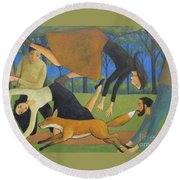 Round Beach Towel featuring the painting After The Fox by Glenn Quist