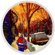 After The Hockey Game A Winter Walk At Sundown Montreal City Scene Painting  By Carole Spandau Round Beach Towel