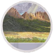After The Monsoon Organ Mountains Round Beach Towel by Jack Pumphrey