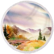Round Beach Towel featuring the painting After The Rain by Teresa Ascone