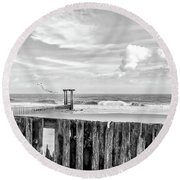 After The Storm Black And White Round Beach Towel