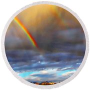 After The Storm El Valle New Mexico Round Beach Towel