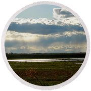 After The Storm Round Beach Towel by Nancy Landry