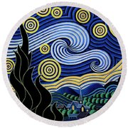 After Van Gogh The Starry Night Round Beach Towel