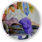 Round Beach Towel featuring the painting After Work by Beverley Harper Tinsley