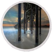Afterglow At San Simeon Round Beach Towel