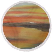 Round Beach Towel featuring the painting Afterglow by Joel Deutsch